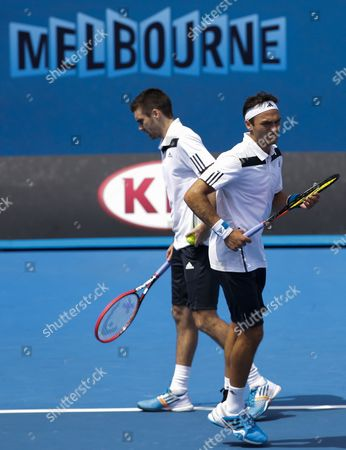 Ross Hutchins (r) and Colin Fleming (l) of Britain in Action Against Rohan Bopanna (india) and Aisam-ul-haq Qureshi (pakistan) During Their Doubles Match at the Australian Open Grand Slam Tennis Tournament in Melbourne Australia 18 January 2014 Australia Melbourne