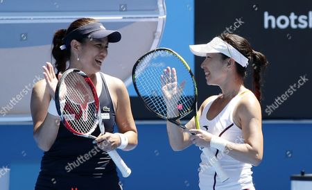 Chan Yung-jan (l) of Taiwan and Zhang Jie of China in Action During Their Doubles Match Against Michaella Krajicek of the Netherlands and Barbora Zahlavova Strycova of the Czech Republic at the Australian Open Grand Slam Tennis Tournament in Melbourne Australia 28 January 2015 the Australian Open Tennis Tournament Runs Until 01 February 2015 Australia Melbourne