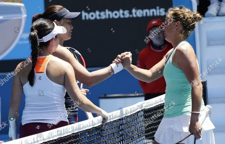 Stock Image of Chan Yung-jan (l-b) of Taiwan and Zhang Jie (f-l) of China Jubilate After Winning Their Doubles Match Against Michaella Krajicek of the Netherlands and Barbora Zahlavova Strycova (r) of the Czech Republic at the Australian Open Grand Slam Tennis Tournament in Melbourne Australia 28 January 2015 the Australian Open Tennis Tournament Runs Until 01 February 2015 Australia Melbourne