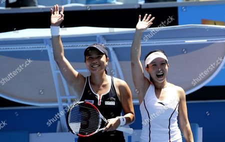 Chan Yung-jan (l) of Taiwan and Zhang Jie of Chinajubilate After Winning Their Doubles Match Against Michaella Krajicek of the Netherlands and Barbora Zahlavova Strycova of the Czech Republic at the Australian Open Grand Slam Tennis Tournament in Melbourne Australia 28 January 2015 the Australian Open Tennis Tournament Runs Until 01 February 2015 Australia Melbourne