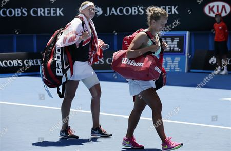 Michaella Krajicek (l) of the Netherlands and Barbora Zahlavova Strycova (r) of the Czech Republic Leave After Losing Against Chan Yung-jan (r) of Taiwan and Zhang Jie of China in Their Doubles Match at the Australian Open Grand Slam Tennis Tournament in Melbourne Australia 28 January 2015 the Australian Open Tennis Tournament Runs Until 01 February 2015 Australia Melbourne