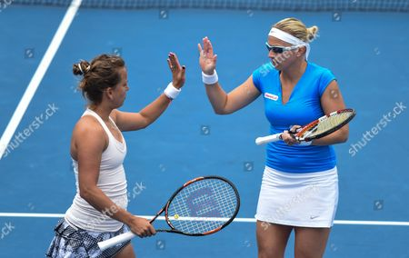 Barbora Zahlavova Strycova (l) From the Czech Republic and Michaella Krajicek From the Netherlands in Action Against Raquel Kops-jones and Abigail Spears of the Us in Their Doubles Match at the Australian Open Grand Slam Tennis Tournament in Melbourne Australia 27 January 2015 the Australian Open Tennis Tournament Runs Until 01 February 2015 Australia Melbourne
