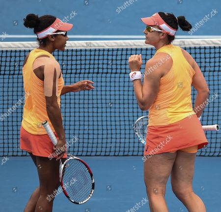 Raquel Kops-jones (l) and Abigail Spears of the Us in Action Against Barbora Zahlavova Strycova (r) From the Czech Republic and Michaella Krajicek From the Netherlands in Their Doubles Match at the Australian Open Grand Slam Tennis Tournament in Melbourne Australia 27 January 2015 the Australian Open Tennis Tournament Runs Until 01 February 2015 Australia Melbourne