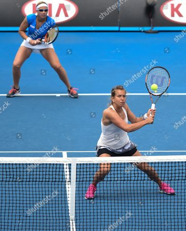 Barbora Zahlavova Strycova (r) From the Czech Republic and Michaella Krajicek From the Netherlands in Action Against Raquel Kops-jones and Abigail Spears of the Us in Their Doubles Match at the Australian Open Grand Slam Tennis Tournament in Melbourne Australia 27 January 2015 the Australian Open Tennis Tournament Runs Until 01 February 2015 Australia Melbourne