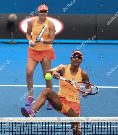 Raquel Kops-jones (r) and Abigail Spears of the Us in Action Against Barbora Zahlavova Strycova (r) From the Czech Republic and Michaella Krajicek From the Netherlands in Their Doubles Match at the Australian Open Grand Slam Tennis Tournament in Melbourne Australia 27 January 2015 the Australian Open Tennis Tournament Runs Until 01 February 2015 Australia Melbourne