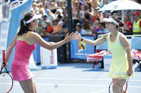 Peng Shuai (l) and Xu Yi-fan Both of China During Their Doubles Match Against Kimiko Date-krumm From Japan and Casey Dellacqua of Australia at the Australian Open Grand Slam Tennis Tournament in Melbourne Australia 21 January 2015 the Australian Open Tennis Tournament Goes From 19 January Until 01 February 2015 Australia Melbourne