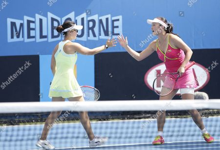 Peng Shuai (r) and Xu Yi-fan Both of China During Their Doubles Match Against Kimiko Date-krumm From Japan and Casey Dellacqua of Australia at the Australian Open Grand Slam Tennis Tournament in Melbourne Australia 21 January 2015 the Australian Open Tennis Tournament Goes From 19 January Until 01 February 2015 Australia Melbourne