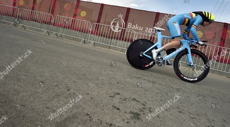 Ann-sophie Duyck of Belgium in Action During the Women's Individual Time Trial in the Road Cycling Competition at the Baku 2015 European Games in Baku Azerbaijan 18 June 2015 Azerbaijan Baku