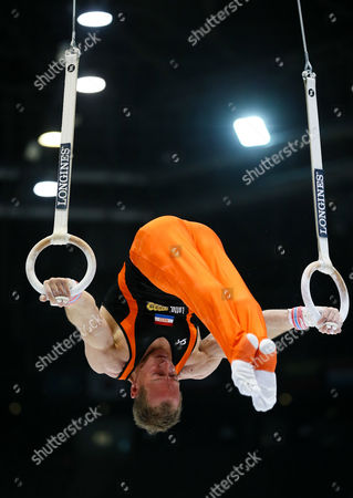 Yuri Van Gelder of the Netherlands Competes on the Rings Bars in the Men's Apparatus Qualifications at the Artistic Gymnastics World Championships in Antwerp Belgium 30 September 2013 Belgium Antwerp
