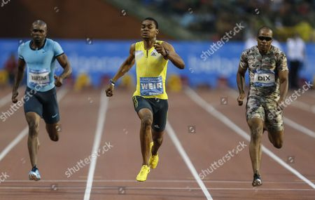 Warren Weir From Jamaica (c) on His Way to Win the Men 200m Race Next to Walter Dix From the U S (l) and Churandy Martina From the Netherlands (r) During the Memorial Van Damme Iaaf Diamond League International Athletics Meeting in Brussels Belgium 6 September 2013 Belgium Brussels
