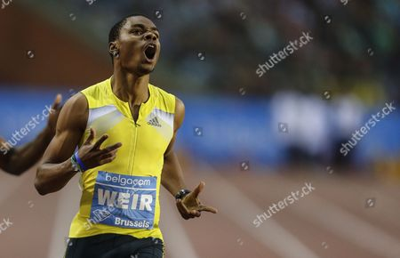 Warren Weir From Jamaica Reacts After Winning the Men 200m Race During the Memorial Van Damme Iaaf Diamond League International Athletics Meeting in Brussels Belgium 6 September 2013 Belgium Brussels