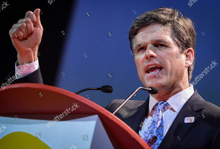 Stock Image of Chairman of Special Olympics Timothy Shriver Delivers a Speech During the Opening Ceremony of the European Special Olympic Summer Games in Brussel Belgium 13 September 2014 the European Special Olympics Summer Games Run Until 20 September in Anvers Belgium Belgium Brussels