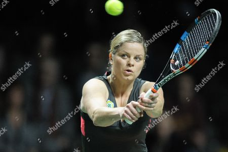 Belgian Tennis Player Kim Clijsters is Playing with Belgian Dick Norman Against Belgian Players Sabine Appelmans and Xavier Malisse During an Exhibition Match of Belgian Legends Doubles Ahead to Final of Wta Tennis Match of the Bnp Parisbas Fortis Diamond Games in Antwerp Belgium 14 February 2015 Belgium Antwerp