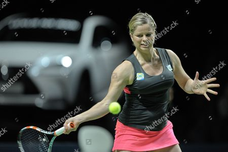 Stock Image of Belgian Tennis Player Kim Clijsters is Playing with Belgian Dick Norman Against Belgian Players Sabine Appelmans and Xavier Malisse During an Exhibition Match of Belgian Legends Doubles Ahead to Final of Wta Tennis Match of the Bnp Parisbas Fortis Diamond Games in Antwerp Belgium 14 February 2015 Belgium Antwerp