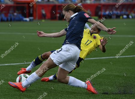 France's Laure Boulleau (l) and Colombia's Carolina Arias Battle For the Ball During the Fifa Women's World Cup 2015 Group F Match Between France and Colombia in Moncton Canada 13 June 2015 Canada Moncton