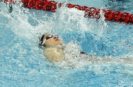 Stephanie Au Hoi Shun of Hongkong Competes in the Woman's 50m Backstroke Final of the Swimming Competitions at the 6th East Asian Games in Tianjin China 11 October 2013 China Tianjin