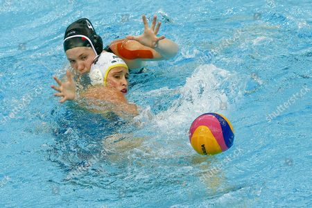 Canada's Emma Wright (l) and Australia's Holly Lincoln-smith Fight For the Ball During Their Match at the 2013 Fina Women's Water Polo World League Super Final at the National Aquatics Center in Beijing China 06 June 2013 China Beijing