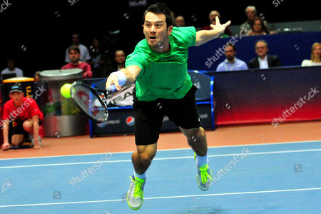 Germany's Bjoern Phau Returns the Ball to Croatia's Marin Cilic During Their Semi Final Match of the Pbz Zagreb Indoors Tennis Tournament in Zagreb Croatia 08 February 2014 Croatia Zagreb