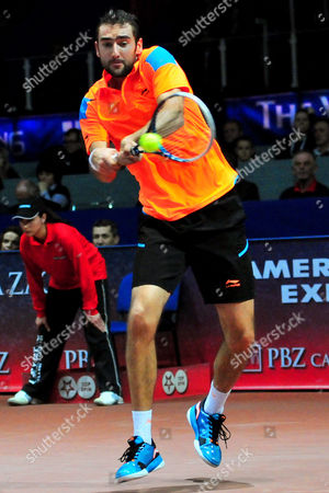 Croatia's Marin Cilic Returns the Ball to Germany's Bjoern Phau During Their Semi Final Match of the Pbz Zagreb Indoors Tennis Tournament in Zagreb Croatia 08 February 2014 Croatia Zagreb