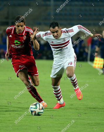 Al-zamalek Player Ahmed Eid (r) Fights For the Ball with Al-ahly Player Saad Samir (l) During Their Egyptian Premier League Soccer Match in Cairo Egypt 29 January 2015 Egypt Cairo