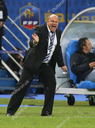 Finnish National Soccer Team Head Coach Mixu Paatelainen Reacts During the Fifa World Cup 2014 Qualifying Soccer Match Between France and Finland at the Stade De France in Saint-denis Near Paris France 15 October 2013 France Saint-denis