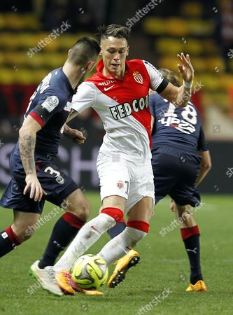 Lucas Ocampos Carrasco of As Monaco (c) Vies For the Ball with Jaroslav Plasil of Bordeaux (r) and Diego Contento (l) During the French Ligue 1 Soccer Match As Monaco Vs Bordeaux at Stade Louis Ii in Monaco 11 January 2015 Monaco Monaco