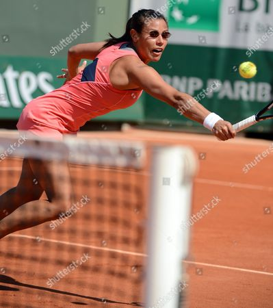 Stephanie Foretz Gacon of France in Action During Her 1st Round Match Against Roberta Vinci of Italy at the French Open Tennis Tournament at Roland Garros in Paris France 27 May 2013 France Paris