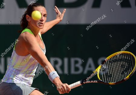 Stock Picture of Roberta Vinci of Italy in Action During Her 1st Round Match Against Stephanie Foretz Gacon of France at the French Open Tennis Tournament at Roland Garros in Paris France 27 May 2013 France Paris