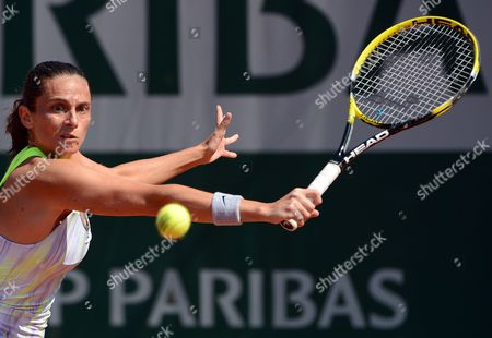 Roberta Vinci of Italy in Action During Her 1st Round Match Against Stephanie Foretz Gacon of France at the French Open Tennis Tournament at Roland Garros in Paris France 27 May 2013 France Paris