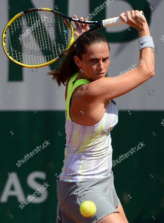 Stock Image of Roberta Vinci of Italy in Action During Her 1st Round Match Against Stephanie Foretz Gacon of France at the French Open Tennis Tournament at Roland Garros in Paris France 27 May 2013 France Paris