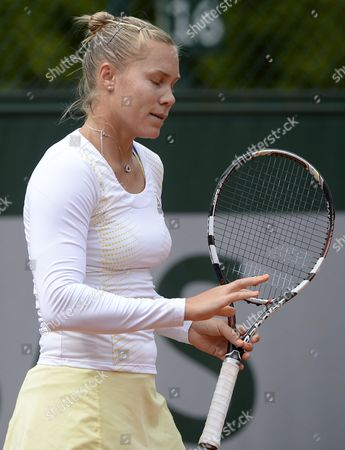 Stock Image of Nina Bratchikova of Portugal Reacts During Her 1st Round Match Against Maria Kirilenko of Russia at the French Open Tennis Tournament at Roland Garros in Paris France 29 May 2013 France Paris