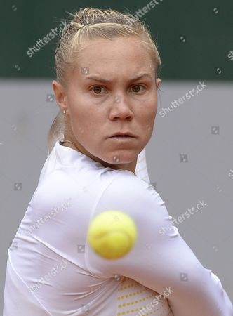 Nina Bratchikova of Portugal in Action During Her 1st Round Match Against Maria Kirilenko of Russia at the French Open Tennis Tournament at Roland Garros in Paris France 29 May 2013 France Paris