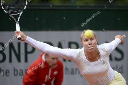 Stock Picture of Nina Bratchikova of Portugal in Action During Her 1st Round Match Against Maria Kirilenko of Russia at the French Open Tennis Tournament at Roland Garros in Paris France 29 May 2013 France Paris