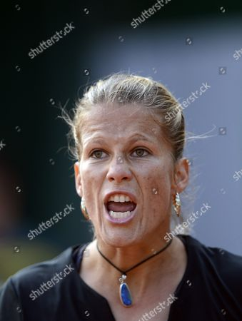 Melinda Czink of Hungary Reacts During Her 1st Round Match Against Francesca Schiavone of Italy at the French Open Tennis Tournament at Roland Garros in Paris France 27 May 2013 France Paris