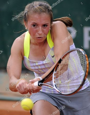 Stock Image of Sandra Zahlavova of Czech Republic in Action During Her First Round Match Against Annika Beck of Germany at the French Open Tennis Tournament at Roland Garros in Paris France 29 May 2013 France Paris