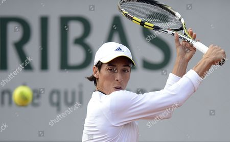 Stock Image of Francesca Schiavone of Italy in Action During Her 1st Round Match Against Melinda Czink of Hungary at the French Open Tennis Tournament at Roland Garros in Paris France 27 May 2013 France Paris
