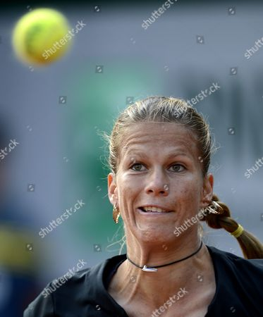 Stock Photo of Melinda Czink of Hungary in Action During Her 1st Round Match Against Francesca Schiavone of Italy at the French Open Tennis Tournament at Roland Garros in Paris France 27 May 2013 France Paris