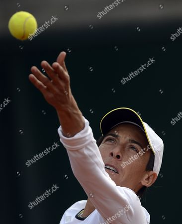 Francesca Schiavone of Italy in Action During Her 1st Round Match Against Melinda Czink of Hungary at the French Open Tennis Tournament at Roland Garros in Paris France 27 May 2013 France Paris
