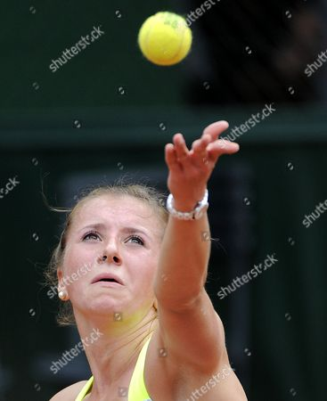Sandra Zahlavova of Czech Republic in Action During Her First Round Match Against Annika Beck of Germany at the French Open Tennis Tournament at Roland Garros in Paris France 29 May 2013 France Paris