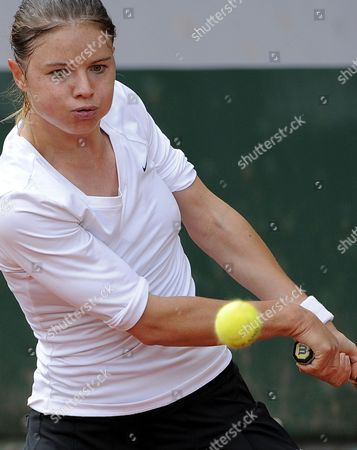 Annika Beck of Germany in Action During Her First Round Match Against Sandra Zahlavova of Czech Republic at the French Open Tennis Tournament at Roland Garros in Paris France 29 May 2013 France Paris