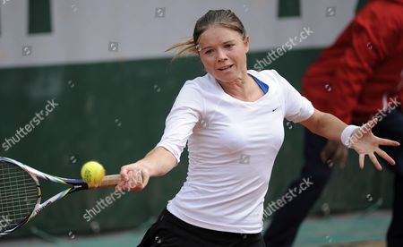 Stock Photo of Annika Beck of Germany in Action During Her First Round Match Against Sandra Zahlavova of Czech Republic at the French Open Tennis Tournament at Roland Garros in Paris France 29 May 2013 France Paris