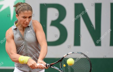 Sara Errani of Italy in Action During Her Second Round Match Against Dinah Pfizenmaier of Germany For the French Open Tennis Tournament at Roland Garros in Paris France 29 May 2014 France Paris