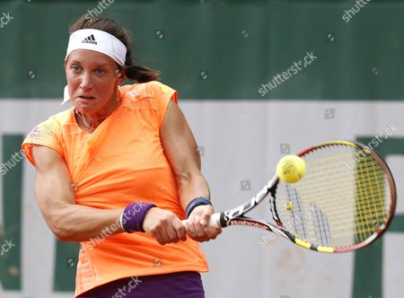 Dinah Pfizenmaier of Germany in Action During Her First Round Match Against Estrella Cabeza Candela of Spain at the French Open Tennis Tournament at Roland Garros in Paris France 27 May 2014 France Paris