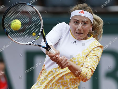 Ksenia Pervak of Russia Returns to Compatriot Maria Sharapova During Their First Round Match For the French Open Tennis Tournament at Roland Garros in Paris France 26 May 2014 France Paris