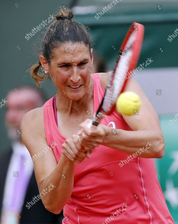 Virginie Razzano of France in Action Against Veronica Cepede Royg of Paraguay During Their First Round Match For the French Open Tennis Tournament at Roland Garros in Paris France 25 May 2015 France Paris