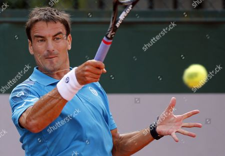 Tommy Robredo of Spain in Action Against Andrey Golubev of Kazakhstan During Their First Round Match For the French Open Tennis Tournament at Roland Garros in Paris France 25 May 2015 France Paris