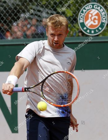 Andrey Golubev of Kazakhstan in Action Against Tommy Robredo of Spain During Their First Round Match For the French Open Tennis Tournament at Roland Garros in Paris France 25 May 2015 France Paris
