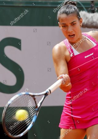Veronica Cepede Royg of Paraguay in Action Against Virginie Razzano of France During Their First Round Match For the French Open Tennis Tournament at Roland Garros in Paris France 25 May 2015 France Paris