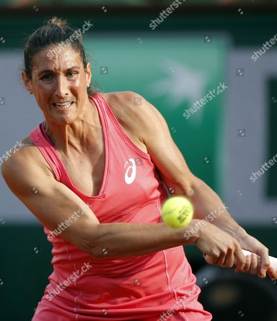 Virginie Razzano of France in Action Against Carla Suarez Navarro of Spain During Their Second Round Match For the French Open Tennis Tournament at Roland Garros in Paris France 27 May 2015 France Paris