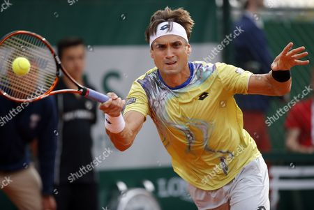 David Ferrer of Spain in Action Against Daniel Gimeno-traver of Spain During Their Second Round Match For the French Open Tennis Tournament at Roland Garros in Paris France 28 May 2015 France Paris